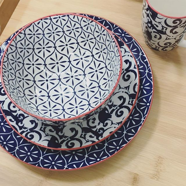 This dinnerware set has me like ?! The blue the white the patterns!!! Get these pieces in a set or sold inidually in-store! & Better Homes and Gardens Piers Dinnerware | Walmart Finds