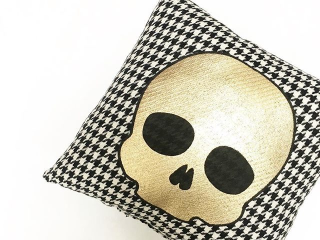 Houndstooth Halloween Skull Pillow